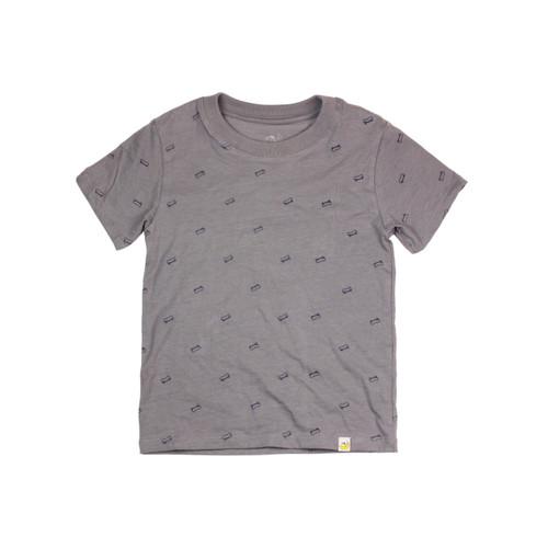 Organic Cotton T-Shirt - Skateboard Print in Steel Grey Garment Dyed