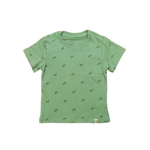 Organic Cotton T-Shirt - Skateboard Print in Mint Green Garment Dyed