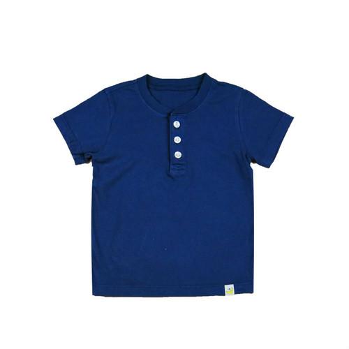 Organic Cotton Henley Shirt - Navy Garment Dyed