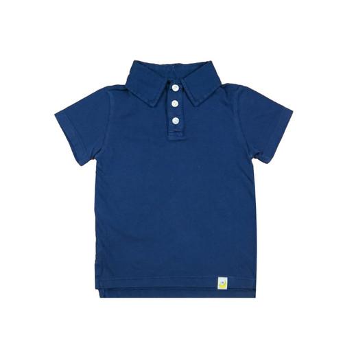 Organic Cotton Polo Shirt - Navy Garment Dyed