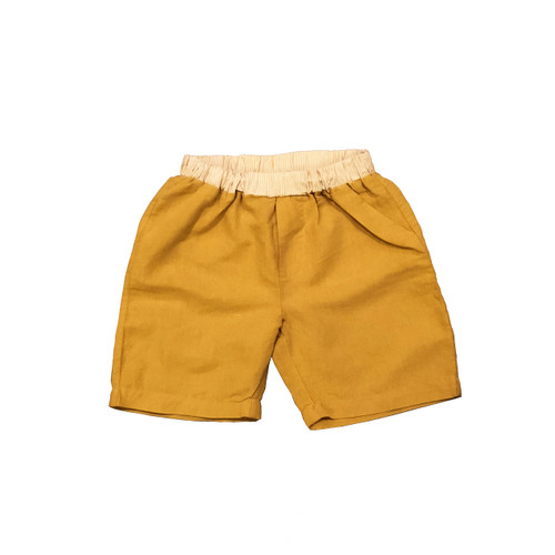 Organic Linen Shorts - Mustard Garment Dyed
