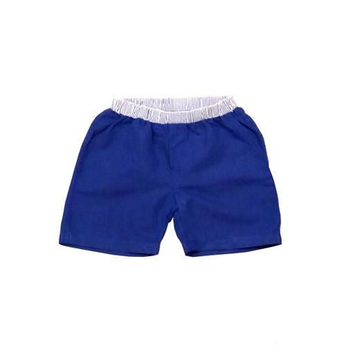 Organic Linen Shorts - Blue Garment Dyed