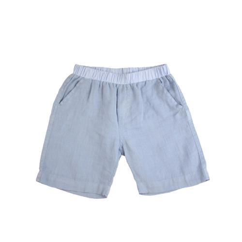 Organic Linen Shorts - Light Blue Garment Dyed