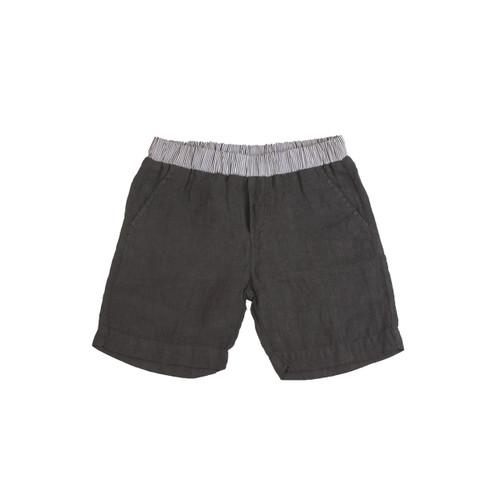 Organic Linen Shorts - Charcoal Garment Dyed