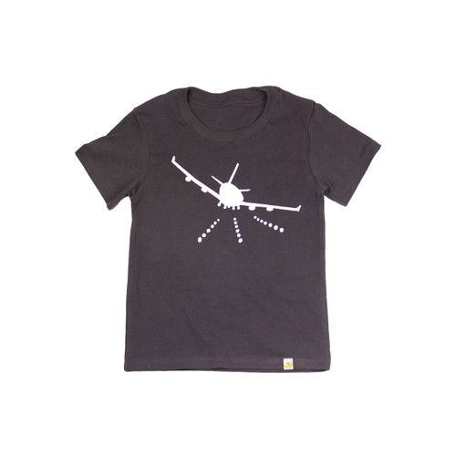 Organic Cotton T-Shirt - Airplane Print in Charcoal Garment Dyed