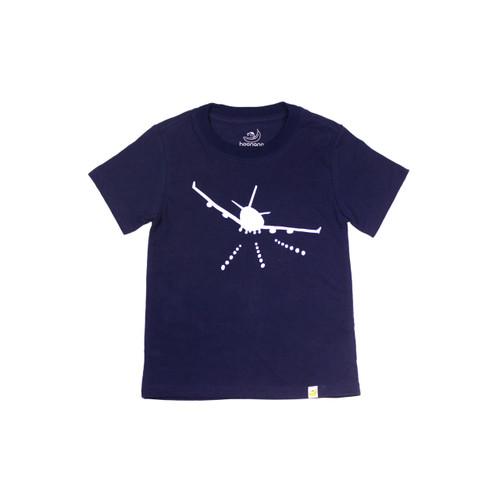 Organic Cotton T-Shirt - Airplane Print in Navy Garment Dyed