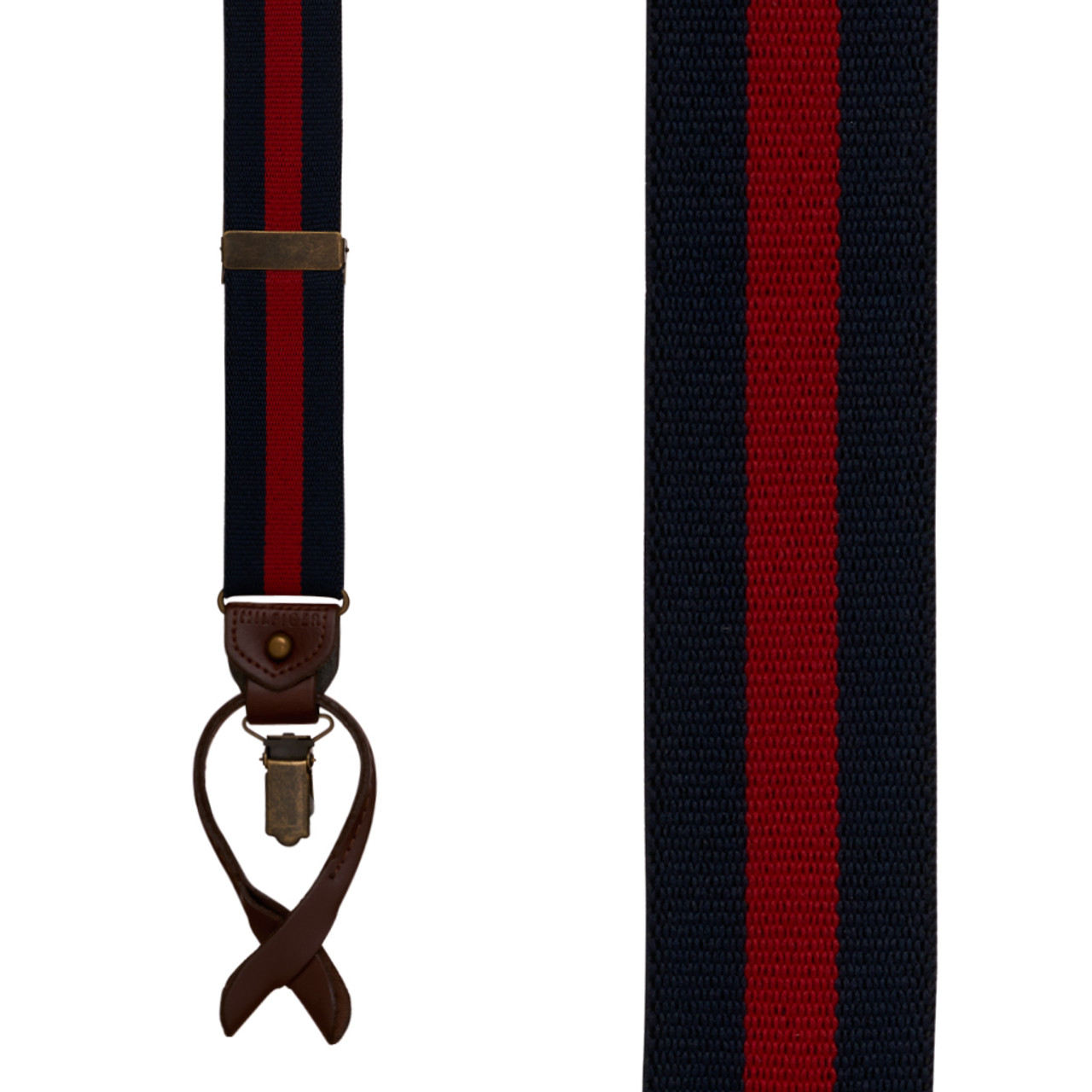 63996bebc Tommy Hilfiger Navy & Red Striped Convertible Suspenders ...