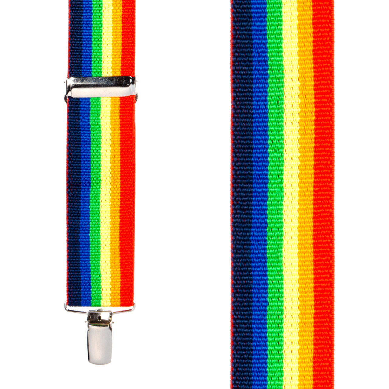 858cb70d4 Front View - Rainbow Striped Clip Suspenders - 1.5 Inch Wide