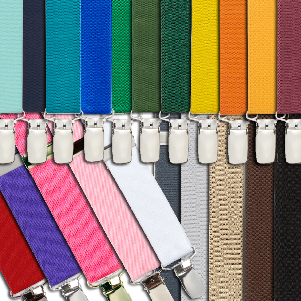"""CHOICE SNAP-ONS to BELT LOOPS X 1/"""" Wide Suspenders Many Colors MADE IN USA"""