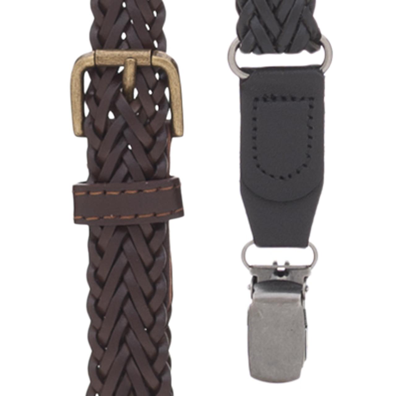 Button SuspenderStore Mens Herringbone Braided Leather Suspenders