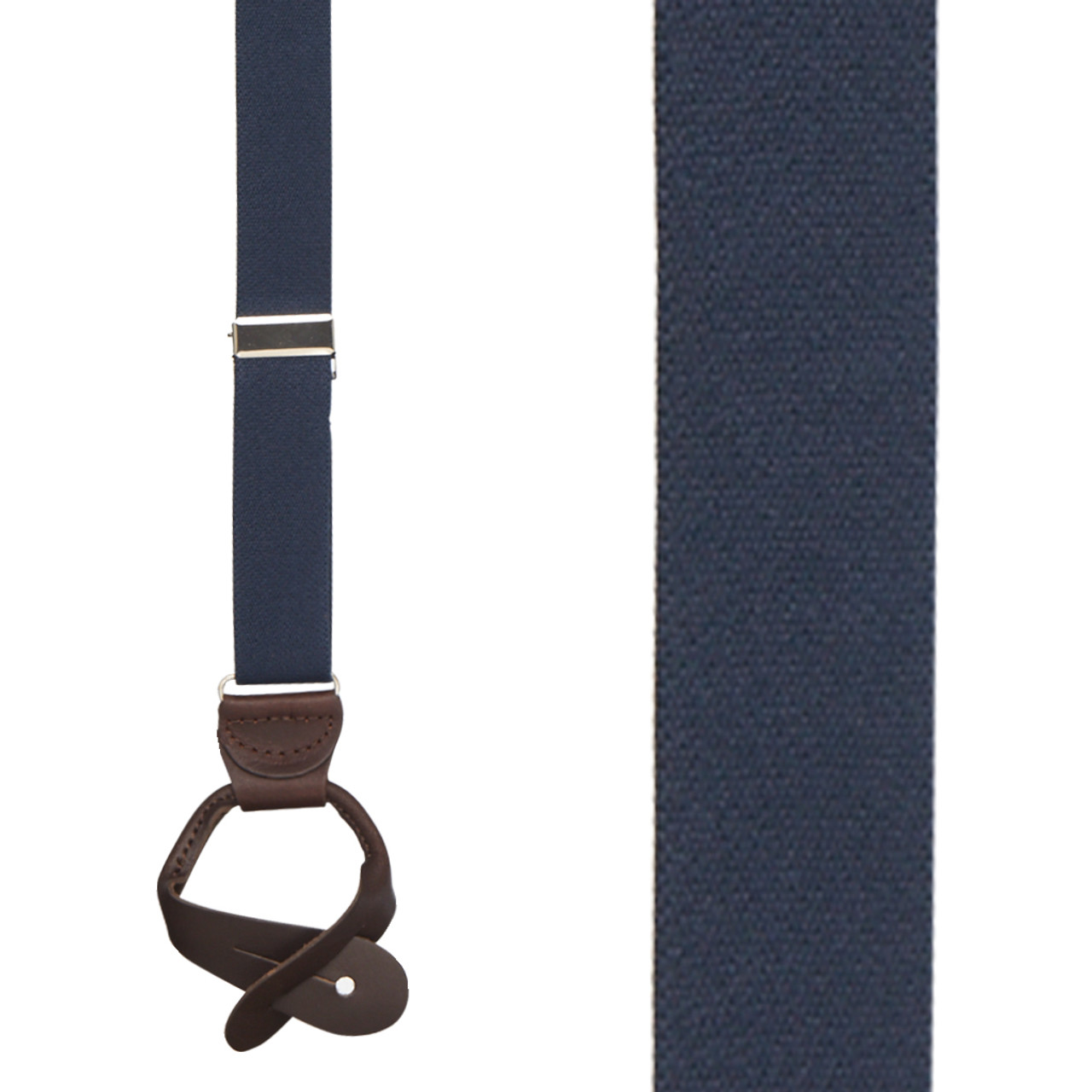 Button All Leather Suspenders 1-Inch Wide