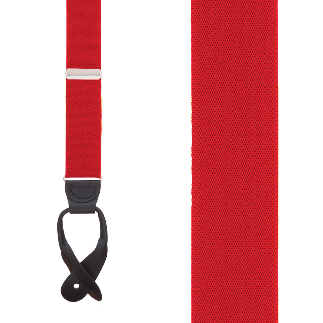 186243c4ada Front View - 1.5 Inch Wide Button Suspenders - RED