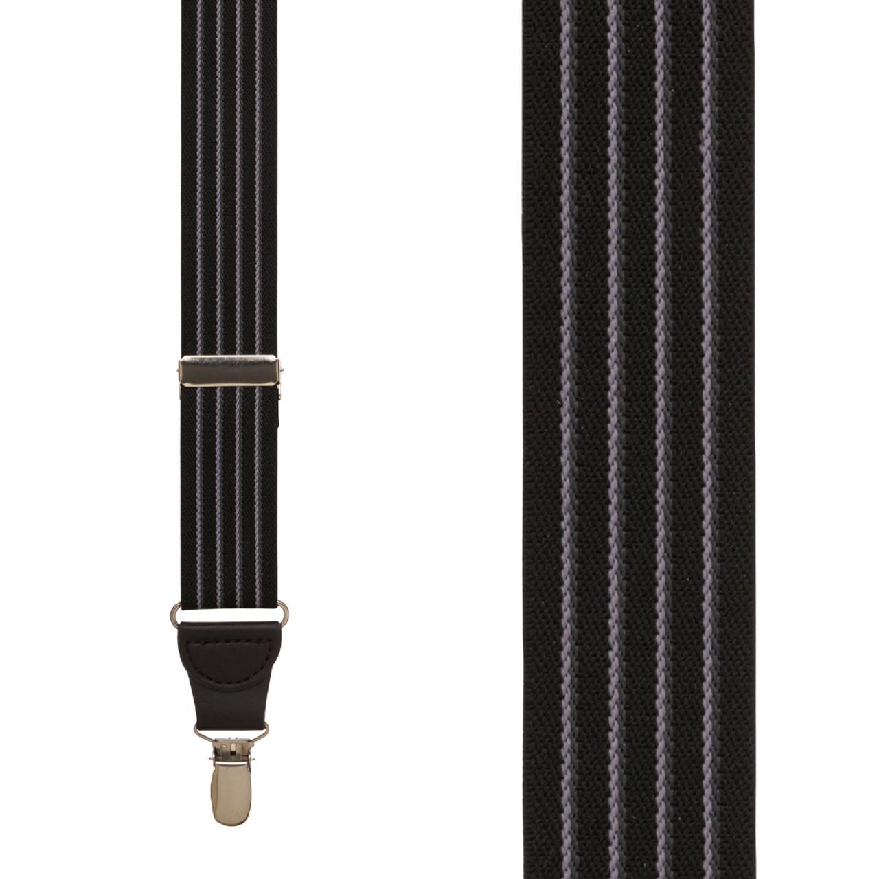 46d6d0587 BLACK Pinstripe Elastic Suspenders - CLIP