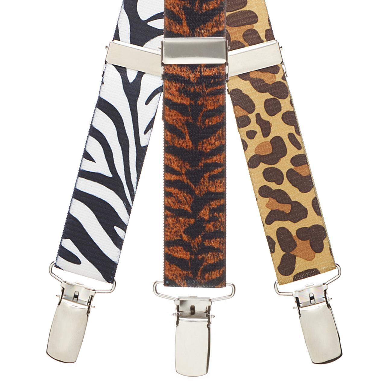 White Small Zebra Print Suspenders