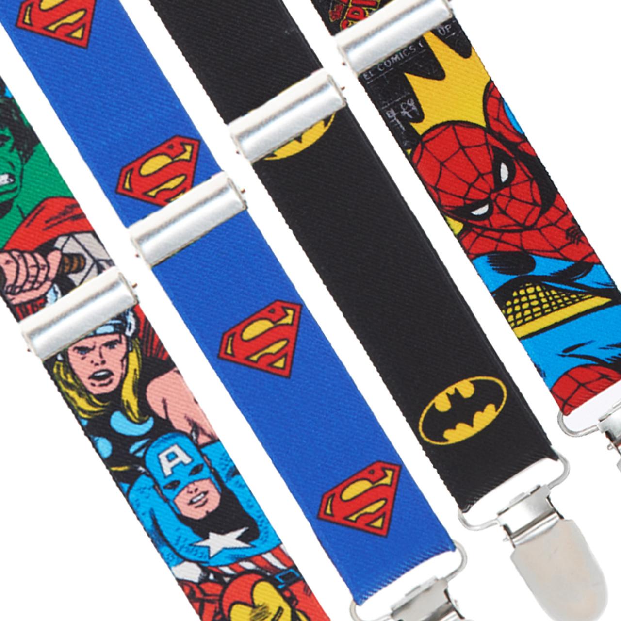 Buckle-Down Suspenders-Justice League Superheroes Close-up