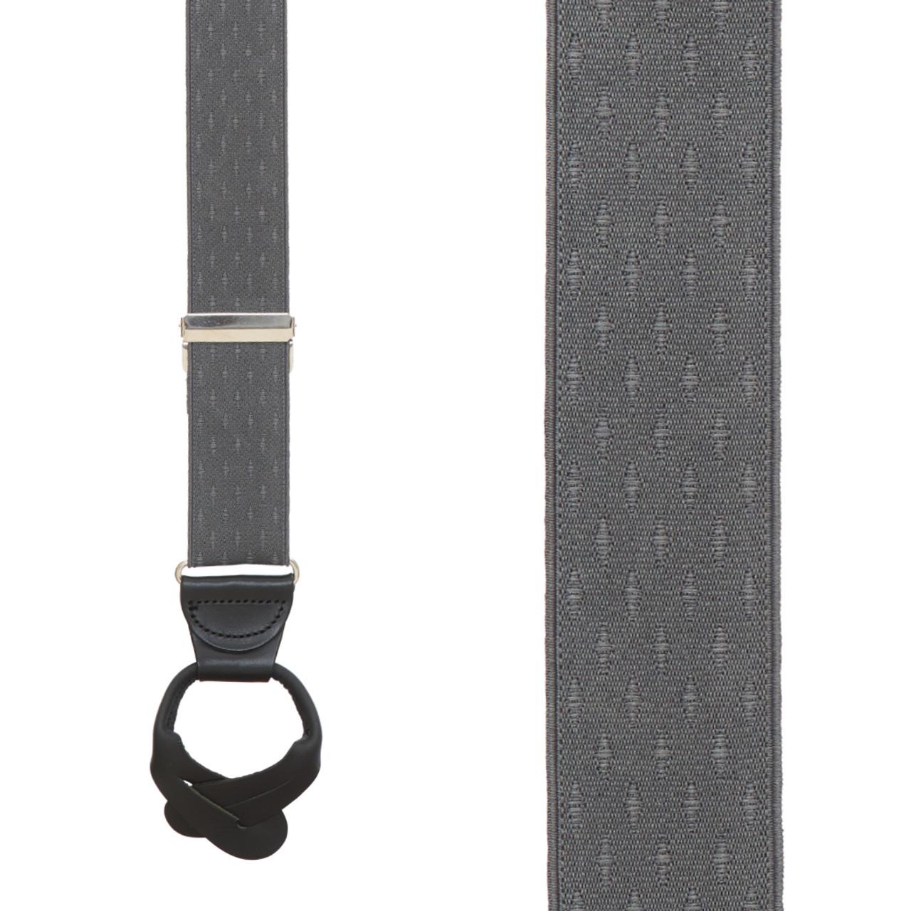 14154a1a1 GREY Jacquard Petite Diamonds Button Suspenders