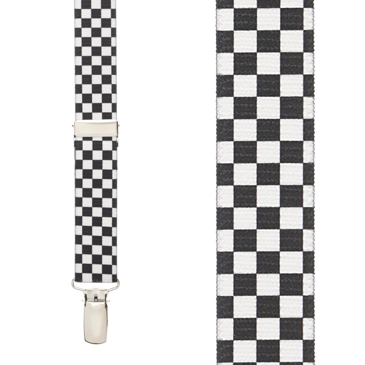 Black White Checkered Suspenders 1 Inch Y Back Suspenderstore