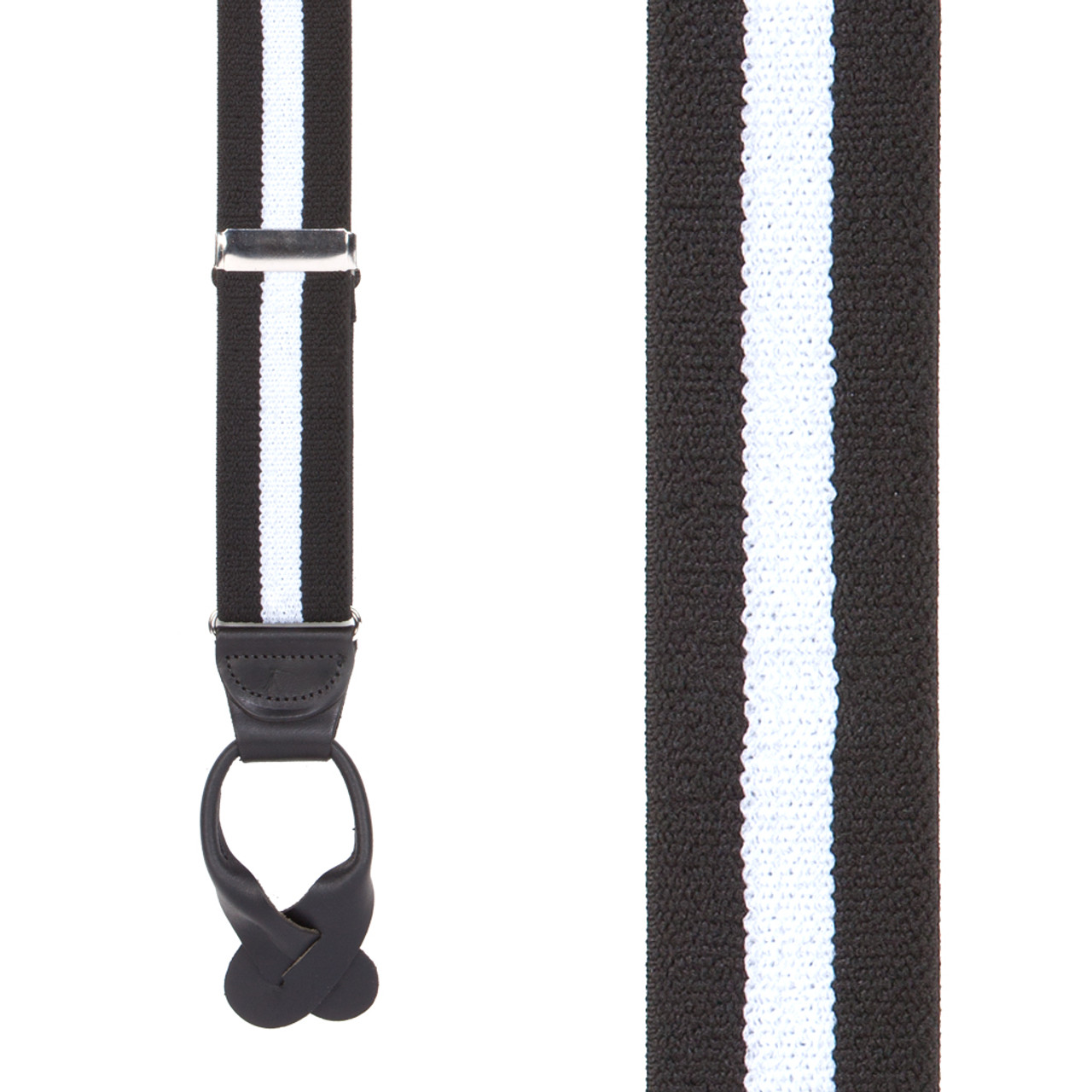 1b7b939cc94 Front View - Black White Striped Button Suspenders - 1.5 Inch Wide