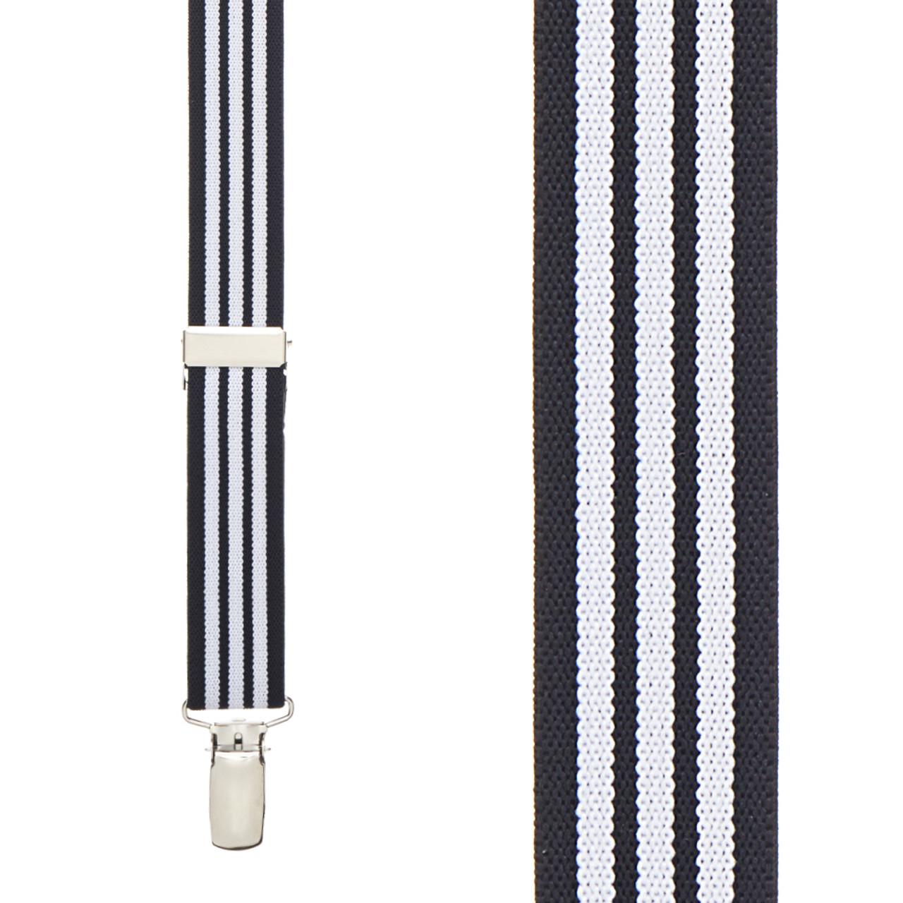 Black and White Wide Stripe Tuxedo Suspenders