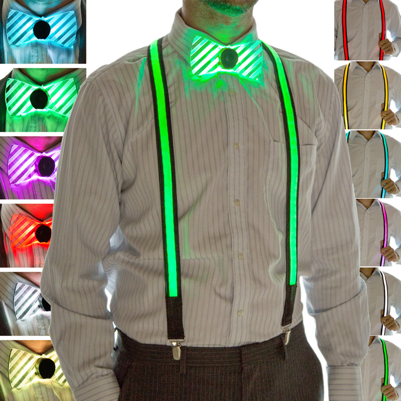 2cfa83a9e63ab7 Light Up Neon Bow Tie and Suspenders Set | SuspenderStore