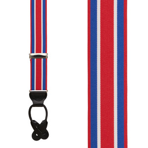 Grosgrain Button Suspenders - Red White Blue Stripe Front View