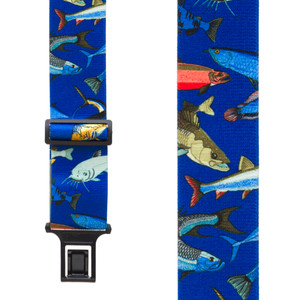 Perry Suspenders - Front View - Mixed Fish on Blue