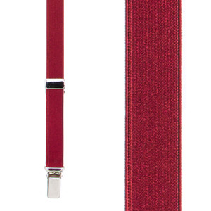 Thin Satin Suspenders in Burgundy - Front View
