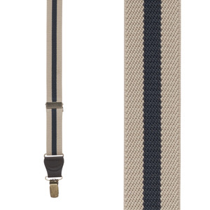 Striped Y-Back Clip Suspenders in Tan/Navy - Front View