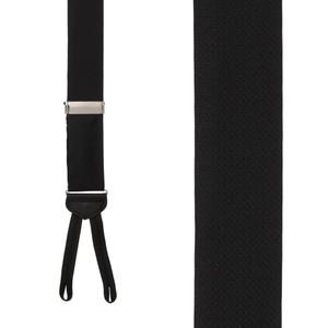 Jacquard Silk BLACK Basket Weave Suspenders - Runner End - Front View