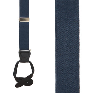 1 Inch Wide Button Suspenders in Navy Blue - Front View