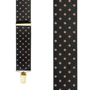 Front View - Polka Dot Suspenders - Khaki on Black 1.5 Inch Wide Clip