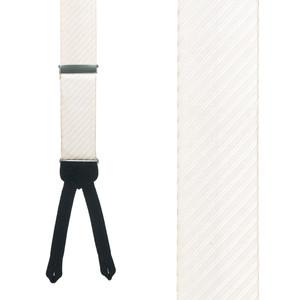 Ivory Formal Diagonal Stripe Silk Suspenders - Front View