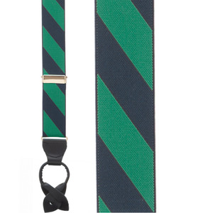 Navy/Green Striped Suspenders Sale - Front View