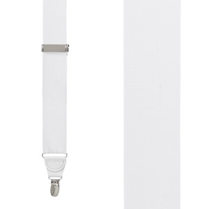 Grosgrain Clip Suspenders - White Front View