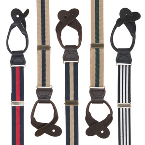 1 Inch Wide Striped Button Suspenders - All Colors