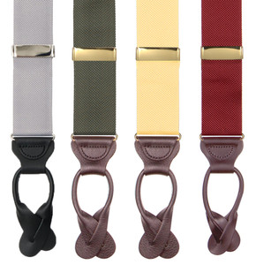 Oxford Cloth Button Suspenders - All Colors