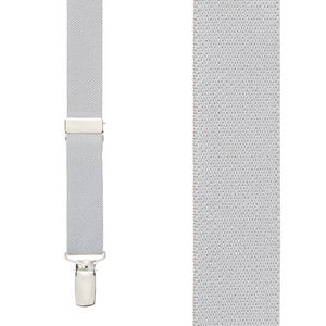 1 Inch Wide Clip X-Back Suspenders in Light Grey - Front View