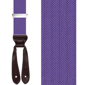 Silk Herringbone Button Suspenders in Purple - Front View