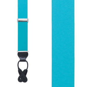 Grosgrain Button Suspenders - Turquoise Front View