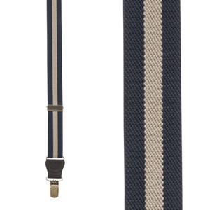 Striped Y-Back Clip Suspenders in Navy/Tan - Front View