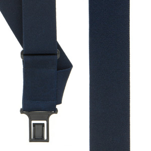 Perry Suspenders - Front View - Navy Blue Side Clip