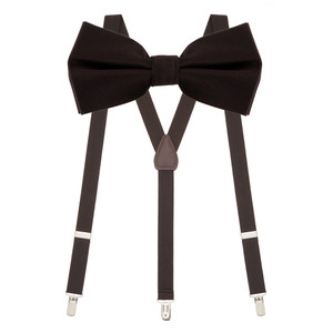 Bow Tie and Suspenders Set in Brown