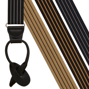Pinstripe Elastic Suspenders - Button - Front View - All Colors