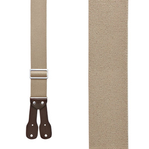 Logger Button Suspenders - 2 Inch Wide TAN - Front View