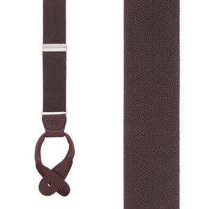 1.5 Inch Wide Button Suspenders  in Brown- Front View