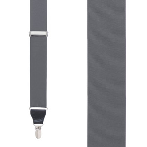 Grosgrain Clip Suspenders - Dark Grey Front View