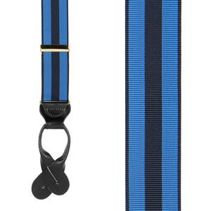 Grosgrain Button Suspenders - Navy Sky Blue Stripe - Front View
