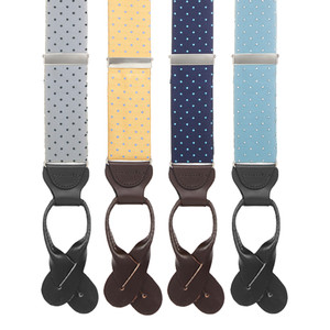 Silk Polka Dot Button Suspenders - All Colors
