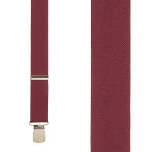 1.5 Inch Wide Pin Clip Suspenders in Burgundy - Front View