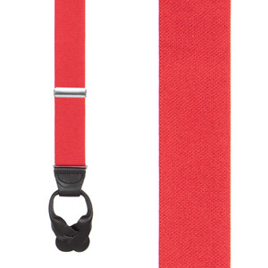 1.25 Inch Wide Button Suspenders in Red - Front View